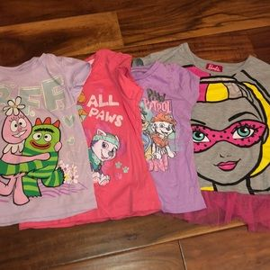 Other - 4 T-shirt lot of 5t Barbie , Paw patrol , Yo Gabba